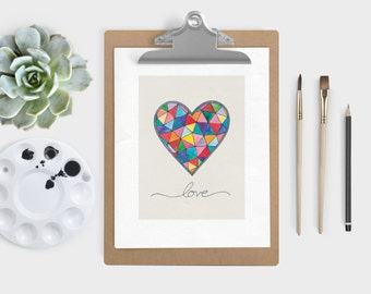 Kaleidoscope Heart Art Print - Geometric Heart Art Print - Rainbow Triangles Heart Art Print - Love Art Print- Watercolor Print - 8x10 11x14