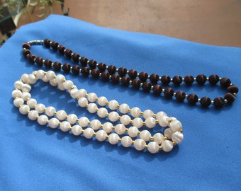 Lot Of Retro Satin Beaded Necklaces
