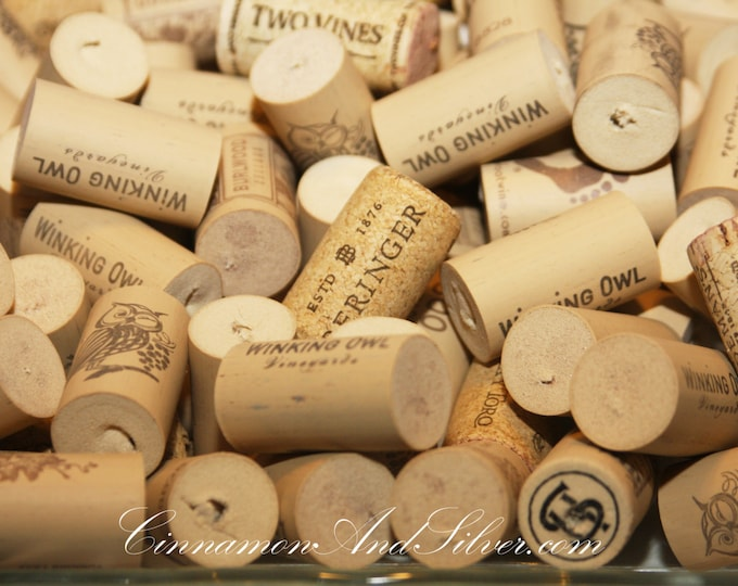 Variety Pack of 25 Used Synthetic or Real Wine Corks for Upcycled Crafting, Champagne Corks, Owl Corks, Printed Corks, Footprint Corks