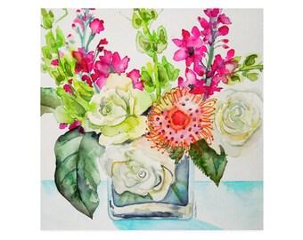 Watercolor Floral Art Print-Floral Wall Art-Floral Painting-Flower Print-Wall Art-Roses-Watercolor Flowers-Flowers-Watercolor Bouquet-Floral