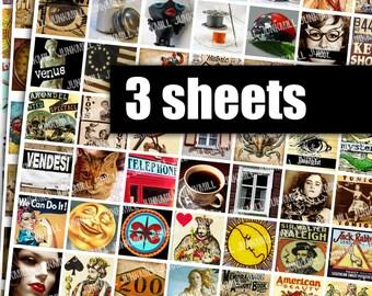 """MINI MEDLEYS - Digital Printable Collage Sheets - Sampler Sale Bundle with 174 Vintage Images, Buy More and Save, 1"""" Square, Scrabble Tile"""