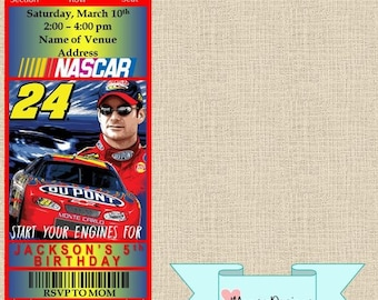 Nascar invitations etsy nascar ticket birthday invitation filmwisefo Choice Image