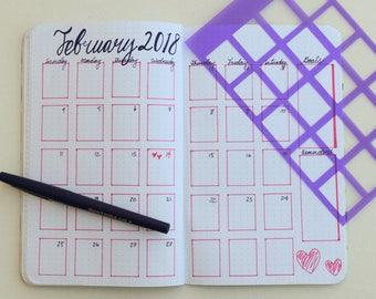 2 Bullet Journal Stencils - Create your calendar spread in minutes!