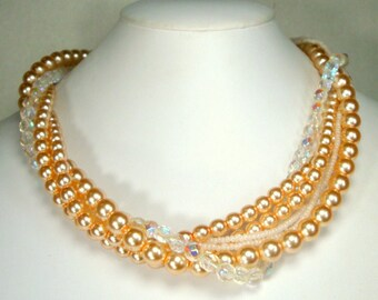 SALE, Pink Pearl & Crystal Multistrand Necklace , 6 Assorted Strands of Beads,
