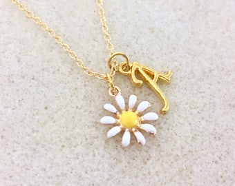 Personalized daisy necklace daisy gift daisy Girl Scout jr bridesmaid gift flower girl gift flower girl necklace junior bridesmaid necklace