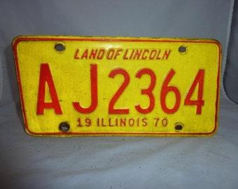 Vintage 1970 Illinois License Plate