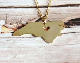 Gold NC State Shaped Necklace,North Carolina State Necklace,North Carolina Map State Charm ,Personalized NC State Necklace With A Heart