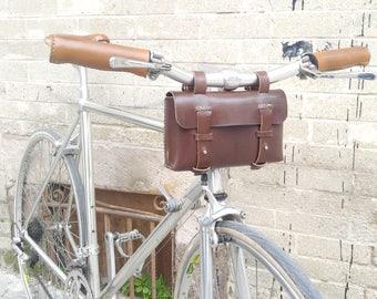 Leather Bicycle Bag - Leather Tool Bag - Bike bag, Chocolate