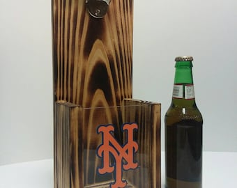 Rustic wooden bottle opener, New York Mets or Your Pro Baseball team choice