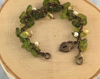 Green Beach Glass and Antiqued Brass Bracelet