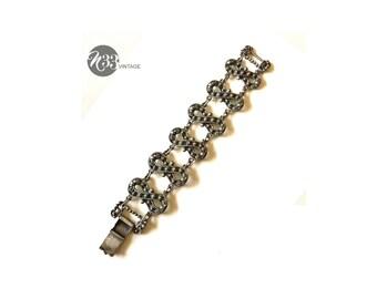 Signed Etrusceana infinity silver tone bracelet, Etruscan style, cuff, jewelry