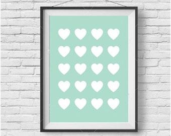Mint Printable Art, Love Heart Downloadable Print, Scandinavian Print, Wall Art, Home Decor, Turquoise Wall Art, Mint Love Heart Art