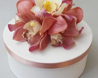 Pink, white/ivory, cake topper, cymbidium, orchids, Real Touch flowers, silk, flowers, wedding