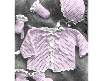 Baby Crochet Pattern Easy Sweater Hat Mitts Booties Pattern Shell Trim PDF Instant Download Six Months C03