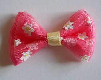 Pretty pink and yellow flowers patterned Ribbon bowtie