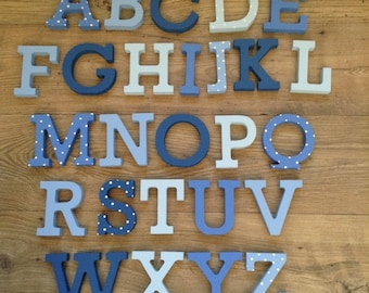 Full Wooden Alphabet - Hand Painted Wooden Letters Set - 26 letters - 15cm high - Rockwell Font