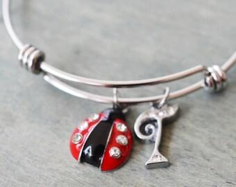 lady bug bangle, silver bangle, ladybug bracelet, bridesmaid gift, personalized bracelet, birthday gift, initial charm, sister bracelet
