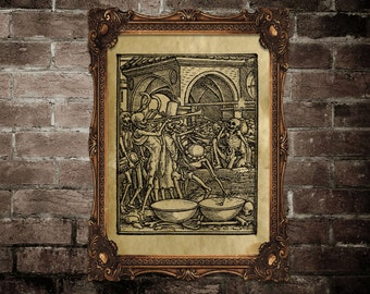 Danse macabre poster, Medieval wall decor, litography print, Apocalipsis, ancient image, dark art