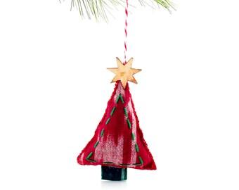 Ornament Christmas Hand Stitched - Red Ikat Tsalagi Cherokee Made