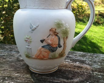 Napcoware Athena Lady in Garden and Cherub Pitcher