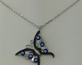 Sterling Silver 925 Butterfly Necklace with Evil Eye