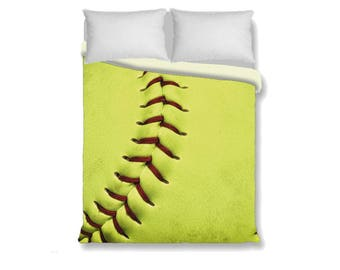 Sale! Softball Duvet Cover-Sports Bedroom Decor-Duvet Cover & Pillow Sham-Girls Bedding-Twin/Long Twin/Full/Queen/King Duvet Cover