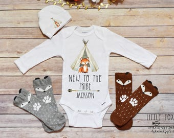 Newborn Take Home Outfit, Baby Boy Clothes, Baby Shower Gift, Fox Onesie®, Baby Onesie®, Fox Shirt, Personalized Baby Boy Gift, Boho Baby