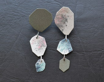 geometric drop earrings, paint splash, one of a kind, pastel colors, extra long earrings, long drop earrings, asymmetrical, textured color