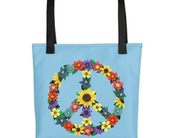 Flower Peace Sign Collage Blue Tote bag