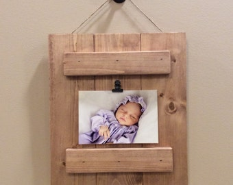 Rustic Stained Pallet 4 x 6 Picture Frame. Home Decor. Photo board. Photo Frame Wall Decor. Picture Plaque. Baby Shower Gift. Wedding Gift