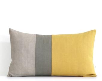 Squash Yellow Lumbar Pillow - 12x20 Fall Color Block Pillow Covers by JillianReneDecor, Modern Home Decor, Autumn Decorative Pillows FW2015