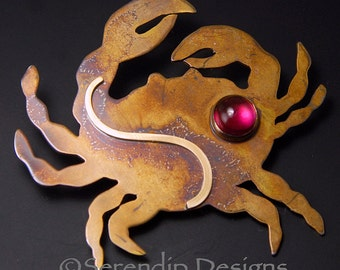 Mixed Metal Crab Brooch with Ruby Patina Sterling Silver and 14karat Goldfill, July Birthstone Crab Pin