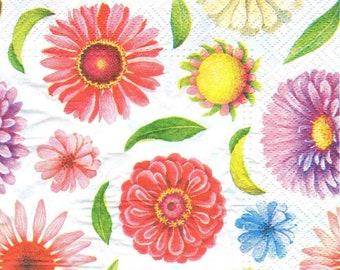 4 Decoupage Napkins, Paper Napkin for Decoupage, Dahlia Flowers, Craft Napkin, Flower Napkin, Decoupage Paper