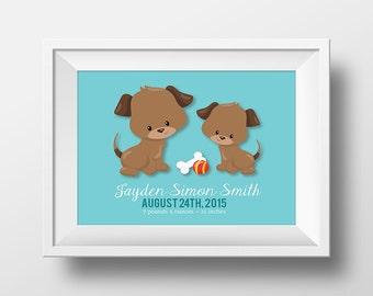 Puppies Nursery, Boy or Girl Birth Stats Nursery Wall Art, Puppy Dog Nursery Decor