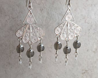 Serena ,Sterling Silver Filigree Chandelier Earrings with Grey and Rainbow Moonstone