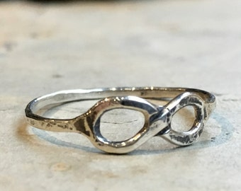 Silver Infinity Ring, Sterling silver ring, Infinity ring, Friendship ring, Bridesmaid ring, stacking ring, bff Gift - Infinite love R2469