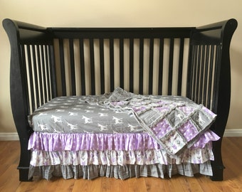 Lilac Woodland Baby Bedding