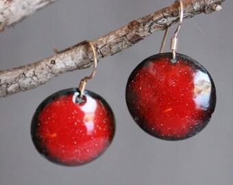 Enamel Earrings, disc earrings, red earrings,drop earrings, modern earrings