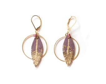 Ethnic hoop earrings, Parma leather earrings, bohemian hoop earrings, feather earrings, golden hoop earrings, bohemian feathers