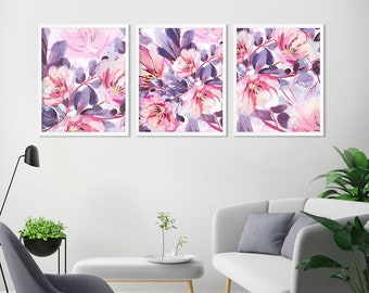 SET of 3 watercolor Wall Art Prints, Abstract flower painting, watercolor flowers, prints, gallery wall, prints, wall art prints, home decor