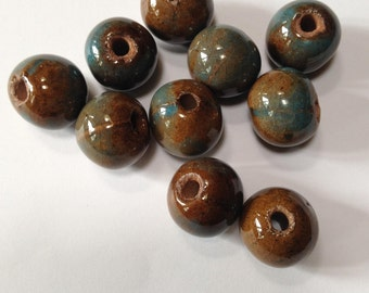 Chocolate Sky - Ceramic Raku Beads - 14mm - 10 beads