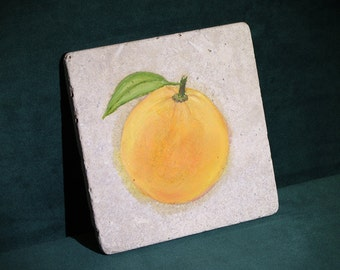 Orange - Hand Painted, Oil on Ceramic