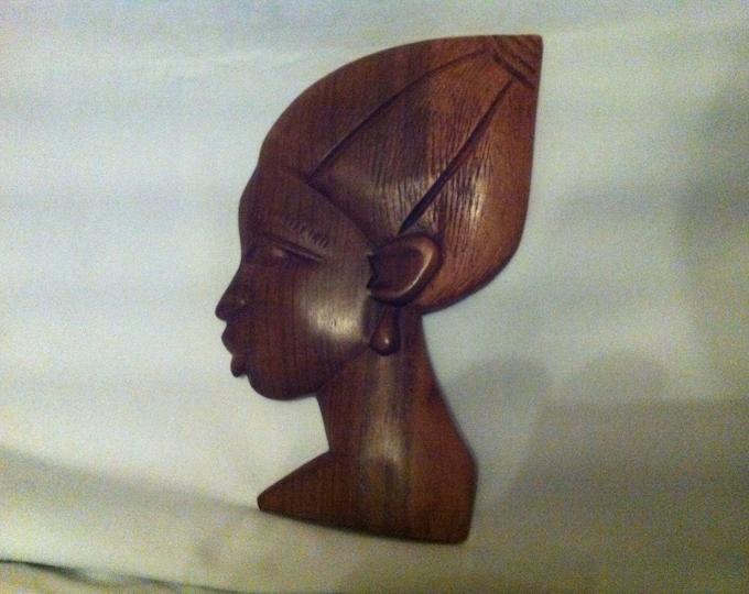 Vintage German head wall mask beautiful wood woman decoration