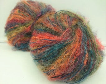 Knitting / 10 balls of wool / 45% mohair /couleur fantasy / made in France