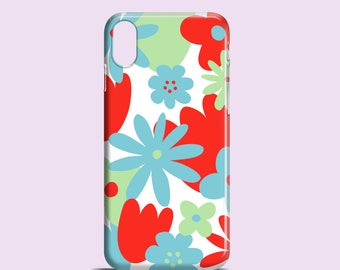 Bright Floral iPhone X case / iPhone 8 / iPhone 7 Plus case / summer iPhone 7 / flowers iPhone 6 / blue iPhone 6S, SE, Samsung Gal S7, S6