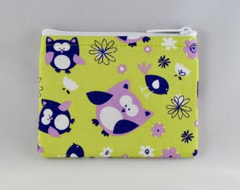 Purple Owls Coin Purse - Coin Bag - Pouch - Accessory - Gift Card Holder