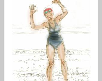 Sea swimmer's greetings card: 'The Shingle Shuffle' - art card, open water swimming, wild swimming