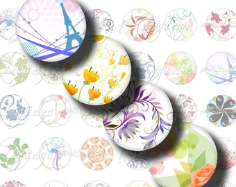 Shades of White (2) Digital Collage Sheet with Trendy Designs on White Background - Circles 1 inch or 12mm or smaller  - See Promo Offer