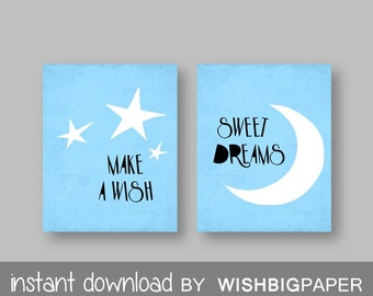 Make a Wish Sweet Dreams Blue Green Nursery Wall Art Print-Instant Download-Set of two (2).Blue Nursery Prints.Star Nursery Art. Moon Prints