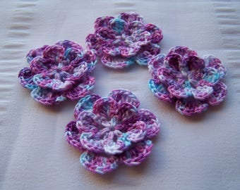 Appliques hand crocheted flowers embellishment set of 4 early blooms cotton 1.5 inch